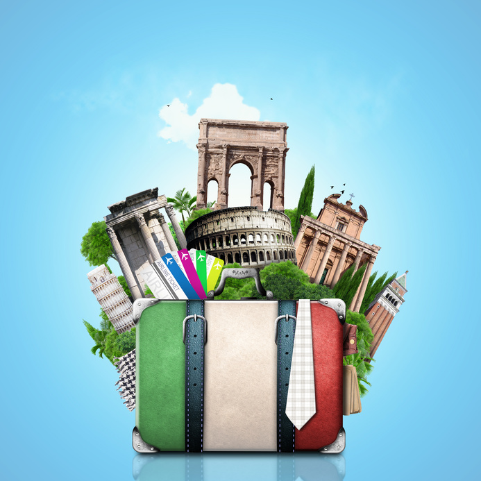 Italy, attractions Italy and retro suitcase, travel